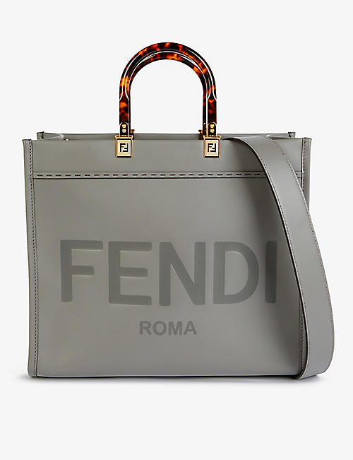 FENDI: Sunshine logo-debossed medium leather tote bag