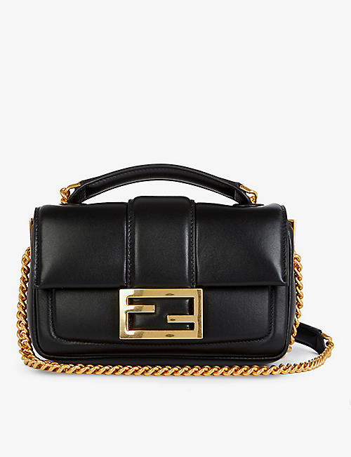 FENDI: Mini Baguette branded leather shoulder bag