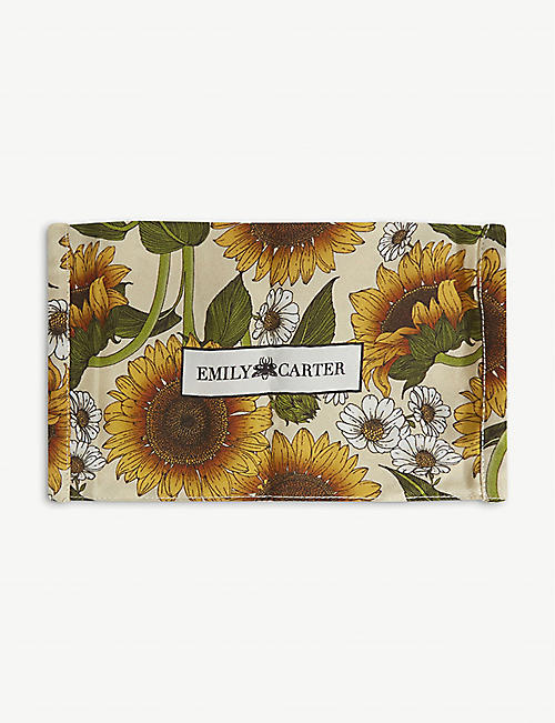 EMILY CARTER: Sunflower-print silk face covering