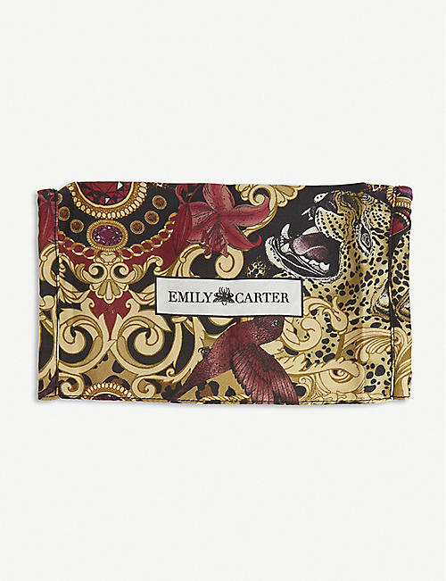 EMILY CARTER: Baroque leopard-print silk face covering
