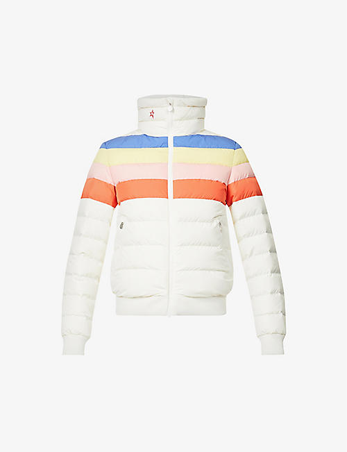 PERFECT MOMENT: Queenie striped shell-down jacket