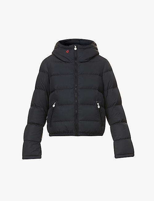 PERFECT MOMENT: Polar Flare hooded shell-down jacket