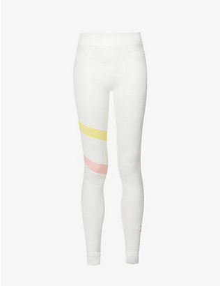 PERFECT MOMENT: Tignes colour-blocked mid-rise stretch-knitted leggings