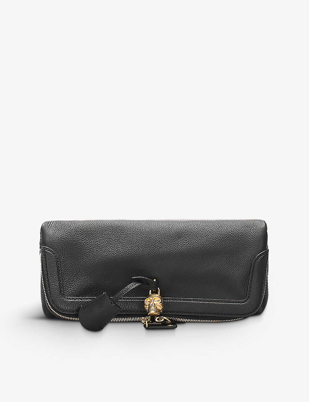 RESELLFRIDGES: Pre-loved Alexander McQueen fold-over leather clutch bag