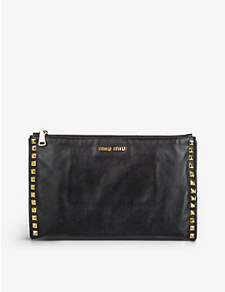 RESELLFRIDGES: Pre-Loved Miu Miu studded leather clutch