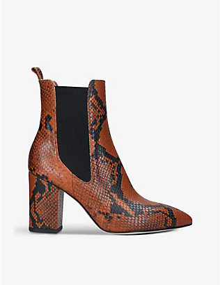 PARIS TEXAS: Snakeskin-embossed leather heeled ankle boots