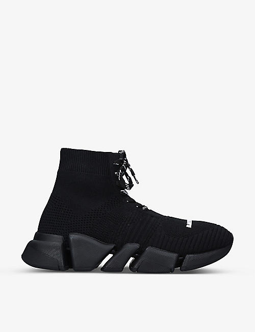 BALENCIAGA: Speed 2.0 stretch-knit mid-top trainers