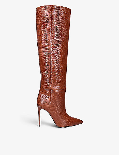 PARIS TEXAS: Stiletto croc-embossed leather knee-high boots