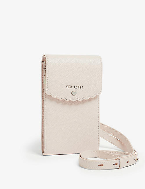 TED BAKER: Scalloped leather cross-body phone pouch