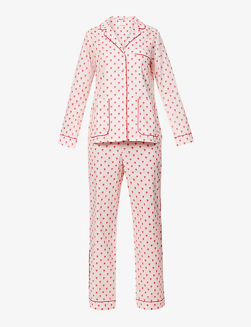 YOLKE: Graphic-print cotton pyjama set