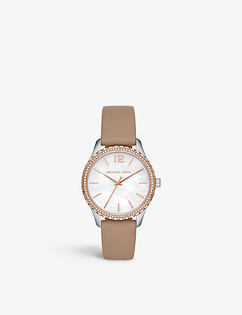 MICHAEL KORS: MK2910 Layton stainless steel and leather watch