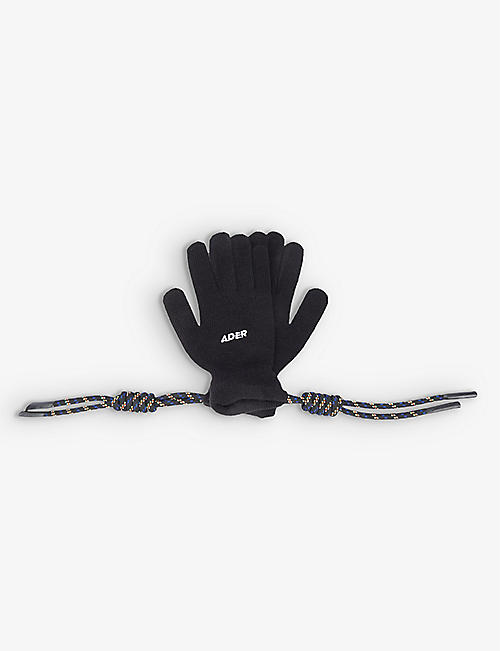 ADER ERROR: Rope-embellished brand-embroidered acrylic gloves