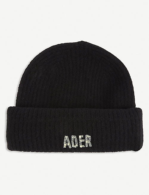 ADER ERROR: Ribbed logo-print wool-blend beanie