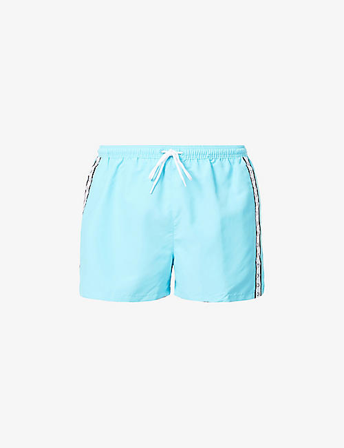 CALVIN KLEIN: Mono branded-tape swim shorts