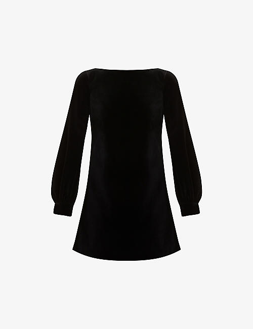 GUCCI: Bow velvet stretch-cotton mini dress
