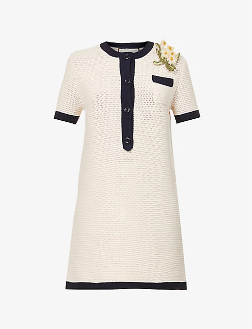 GUCCI: Floral-appliqué wool mini dress