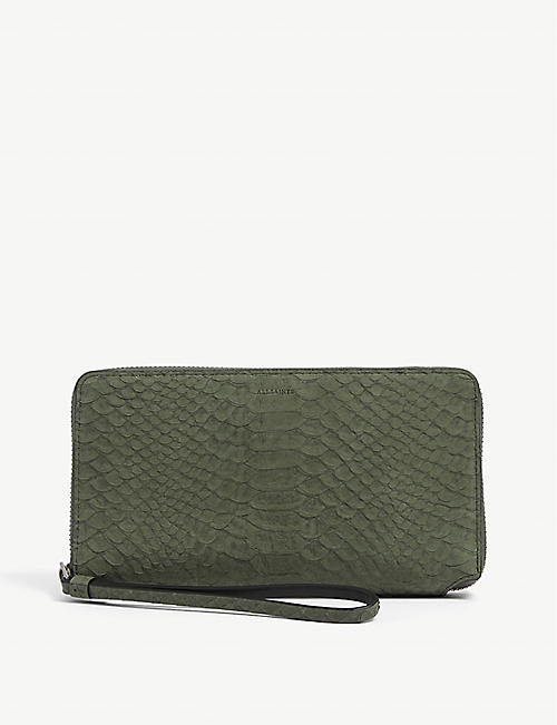 ALLSAINTS: Fetch snakeskin-embossed leather purse