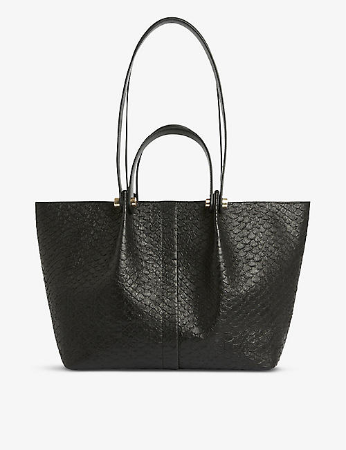 ALLSAINTS: Allington textured-leather small tote