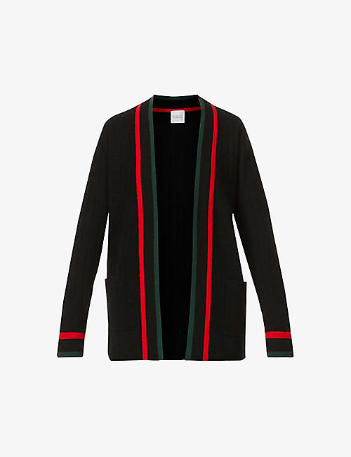 MADELEINE THOMPSON: Big striped-trim cashmere cardigan