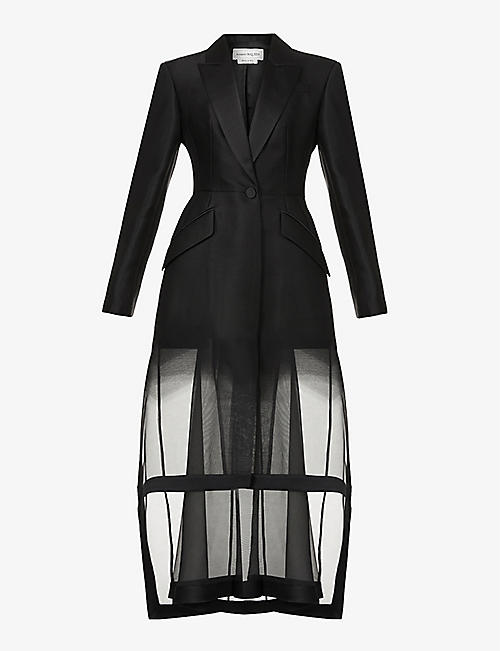 ALEXANDER MCQUEEN: Mesh-panel wool and silk-blend coat