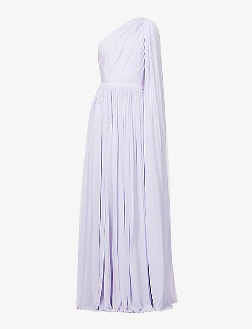 ALEXANDER MCQUEEN: One-shoulder pleated stretch-woven maxi dress