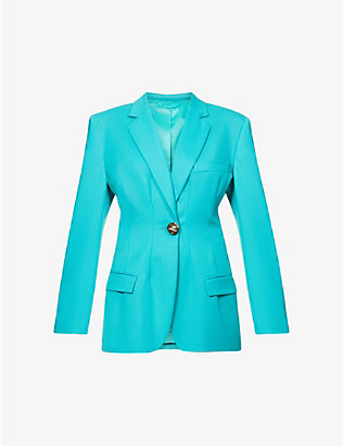 ATTICO: Donna single-breasted stretch-wool blazer