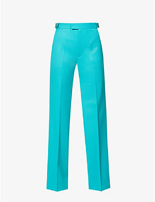 ATTICO: Wide-leg high-rise stretch-wool trousers