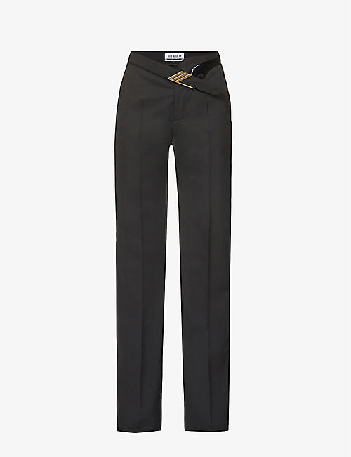 ATTICO: Belted straight-leg mid-rise wool-blend trousers