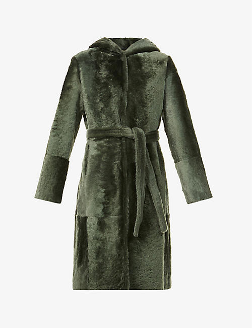 YVES SALOMON: Lacon belted shearling coat