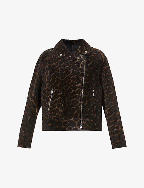YVES SALOMON: Lacon leopard-print shearling jacket