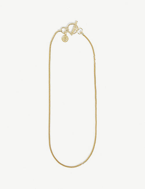 SERGE DENIMES: Scarab T-Bar 14ct gold-plated necklace
