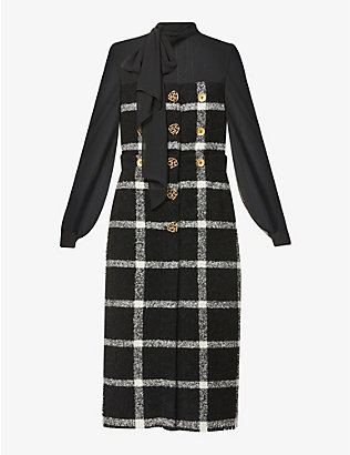 PORTS 1961: Checked wool and silk-blend midi dress