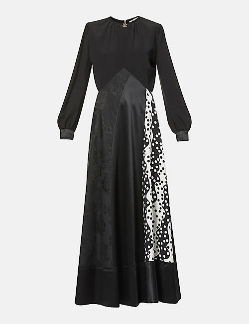 PORTS 1961: Contrast-panel wool-blend maxi dress
