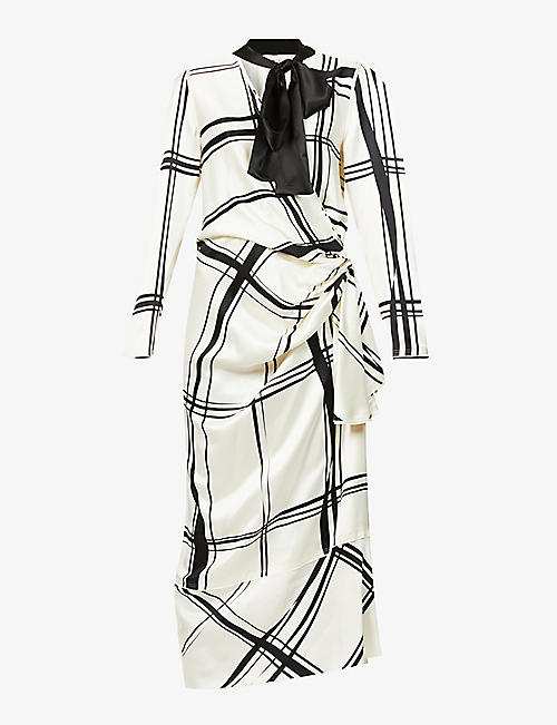 PORTS 1961: Geometric-print silk-blend midi wrap dress