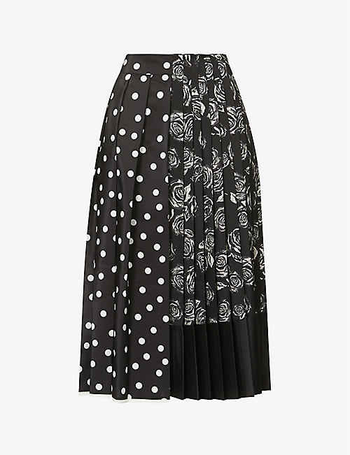 PORTS 1961: Contrast-panel high-waist crepe midi skirt