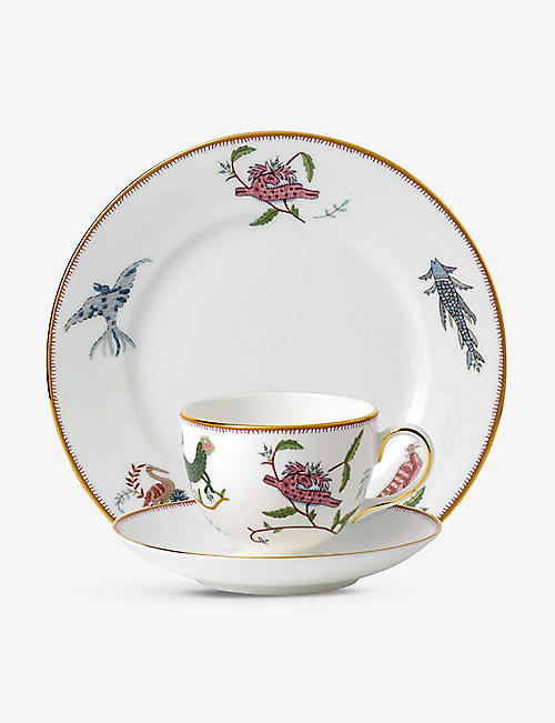 WEDGWOOD: Mythical Creatures fine bone china teacup, saucer and plate gift set