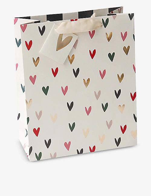 CAROLINE GARDNER: Scattered hearts large gift bag 31cm x 25.4cm