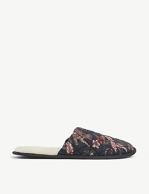 DESMOND AND DEMPSEY: Soleia jungle-print cotton slippers