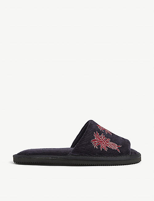DESMOND AND DEMPSEY: Howie pineapple-embroidered corduroy slippers
