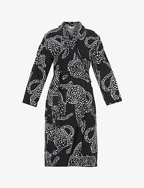 DESMOND AND DEMPSEY: Jaguar-print cotton towelling dressing gown