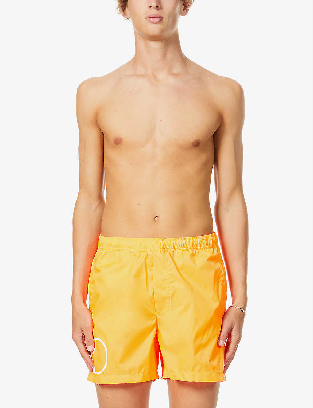 VALENTINO: Brand-patch drawstring-waistband swim shorts