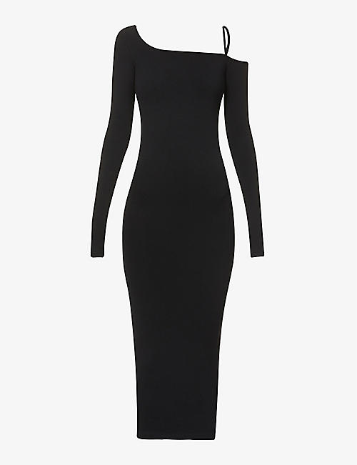 HELMUT LANG: Asymmetric stretch-jersey midi dress