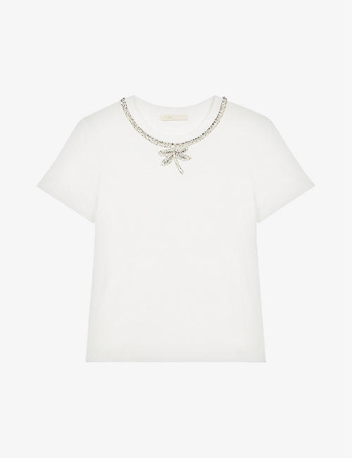 MAJE: Topal rhinestone collar cotton T-shirt