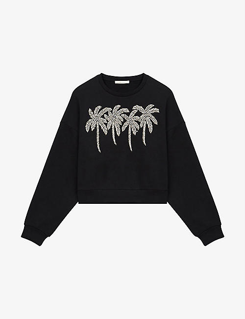 MAJE: Tzar rhinestone palm tree cotton jumper