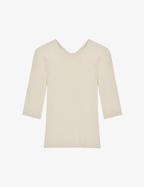 MAJE: Mandy open-back fine-ribbed jumper