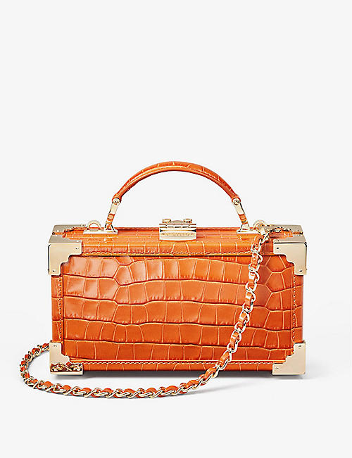 ASPINAL OF LONDON: Trinket Box crocodile-embossed leather clutch