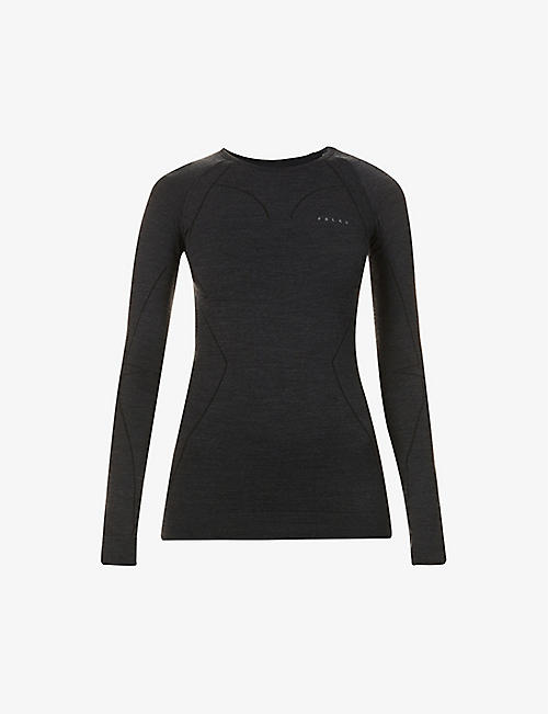 FALKE ERGONOMIC SPORT SYSTEM: Wool-Tech scoop-neck wool-blend top