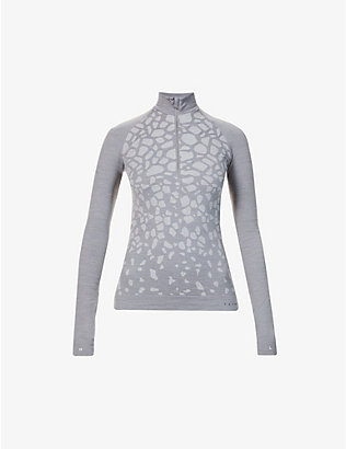 FALKE ERGONOMIC SPORT SYSTEM: Abstract-print high-neck wool-blend top