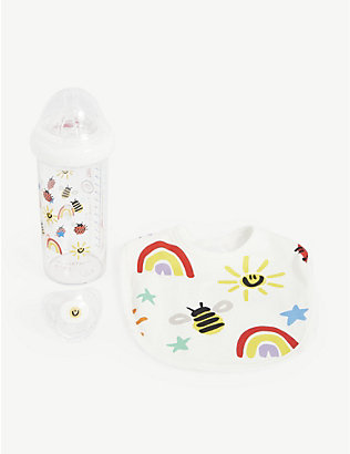 STELLA MCCARTNEY: Rainbow cotton bib set 3+ months