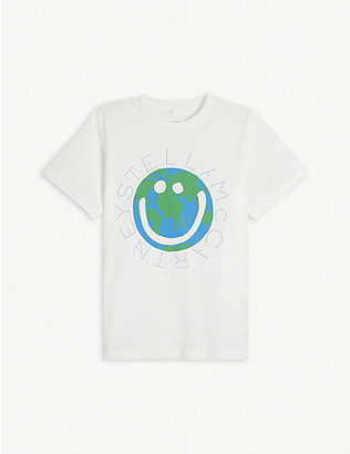 STELLA MCCARTNEY: World logo-print cotton-jersey T-shirt 4-14 years